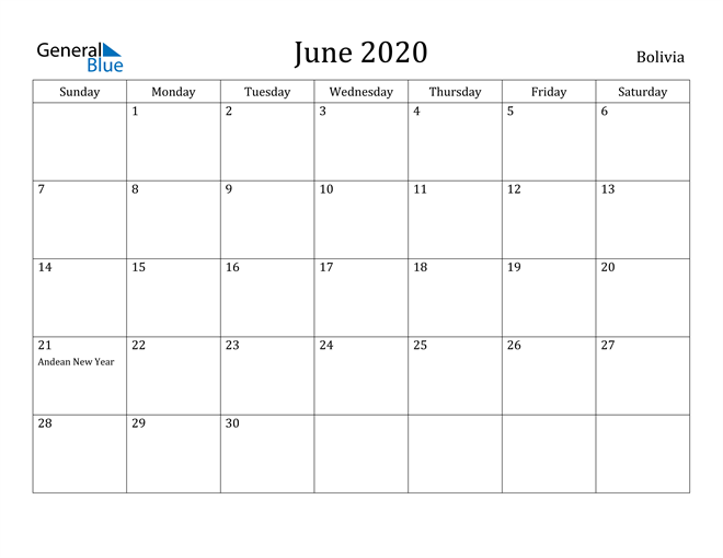 Image of June 2020 Bolivia Calendar with Holidays Calendar