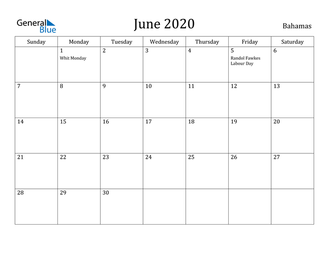 Image of June 2020 Bahamas Calendar with Holidays Calendar