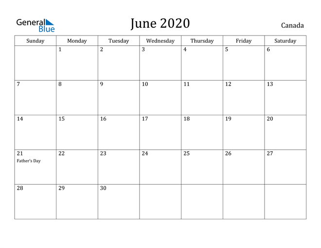 Image of June 2020 Canada Calendar with Holidays Calendar