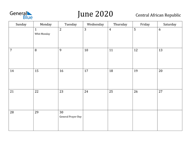 Image of June 2020 Central African Republic Calendar with Holidays Calendar