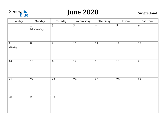 Image of June 2020 Switzerland Calendar with Holidays Calendar
