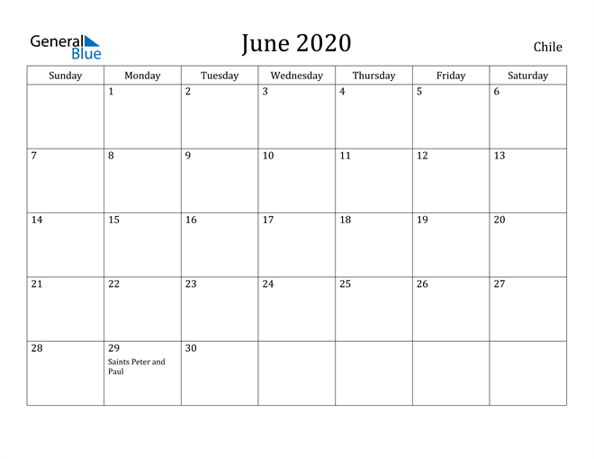 Image of June 2020 Chile Calendar with Holidays Calendar