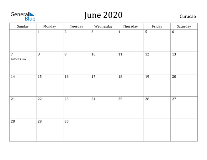 Image of June 2020 Curacao Calendar with Holidays Calendar