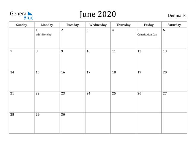 Image of June 2020 Denmark Calendar with Holidays Calendar