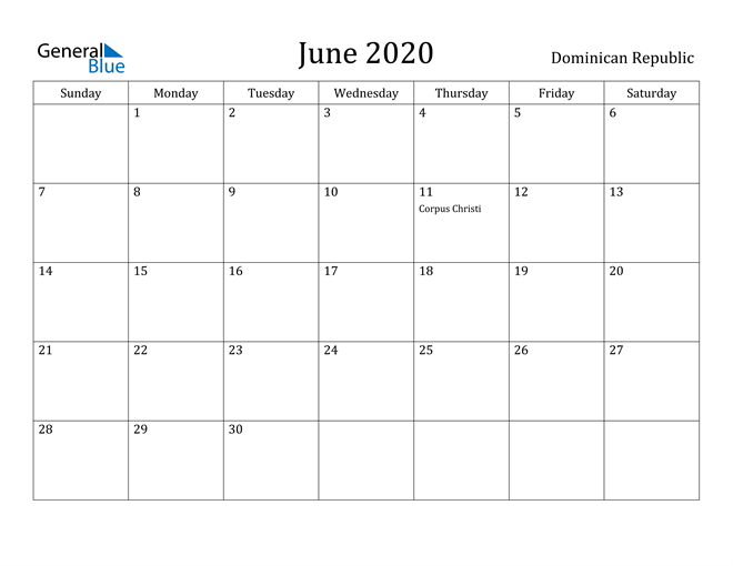 Image of June 2020 Dominican Republic Calendar with Holidays Calendar
