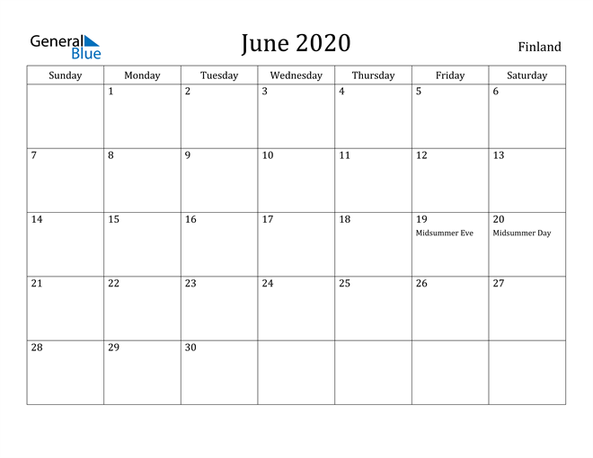 Image of June 2020 Finland Calendar with Holidays Calendar