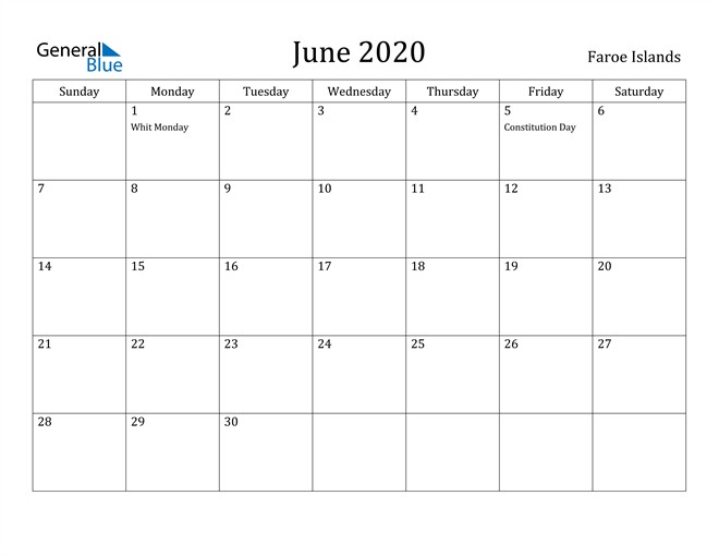 Image of June 2020 Faroe Islands Calendar with Holidays Calendar