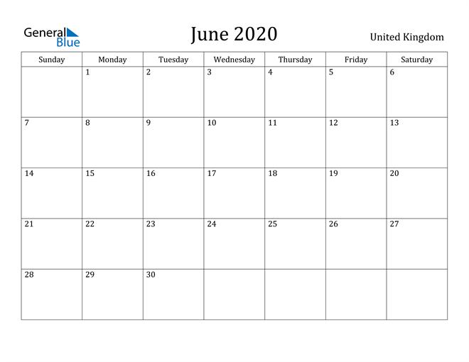 Image of June 2020 United Kingdom Calendar with Holidays Calendar