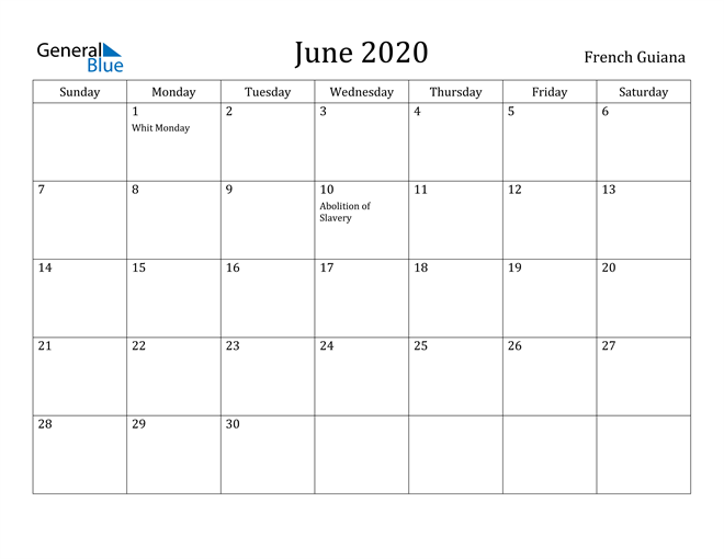 Image of June 2020 French Guiana Calendar with Holidays Calendar