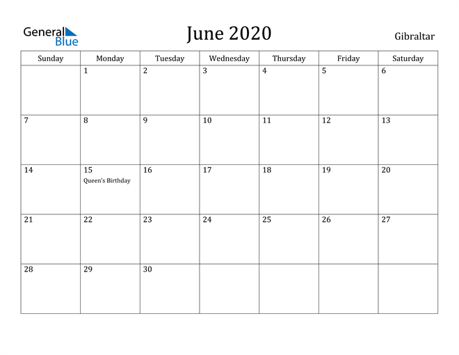 Image of June 2020 Gibraltar Calendar with Holidays Calendar