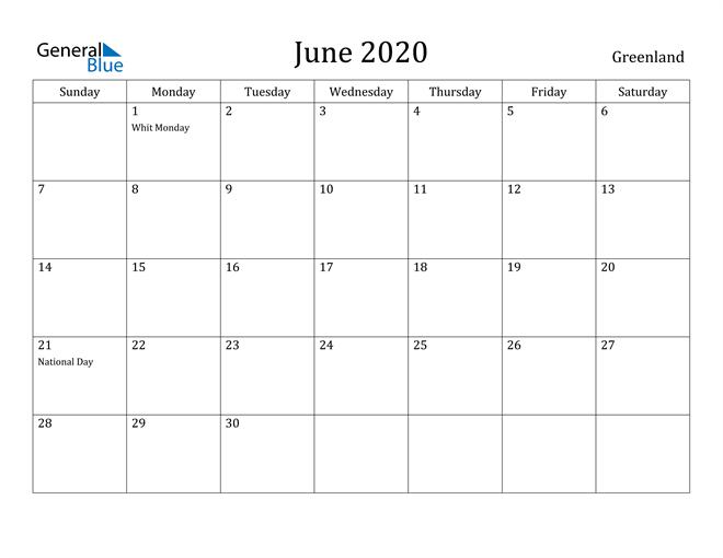 Image of June 2020 Greenland Calendar with Holidays Calendar