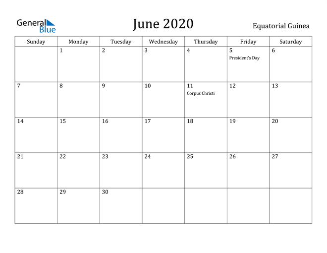 Image of June 2020 Equatorial Guinea Calendar with Holidays Calendar