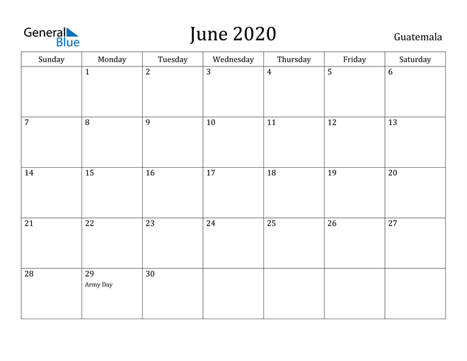 Image of June 2020 Guatemala Calendar with Holidays Calendar