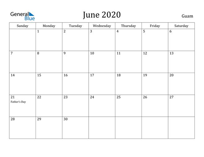 Image of June 2020 Guam Calendar with Holidays Calendar