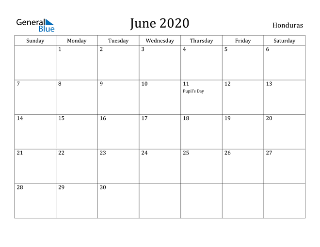 Image of June 2020 Honduras Calendar with Holidays Calendar