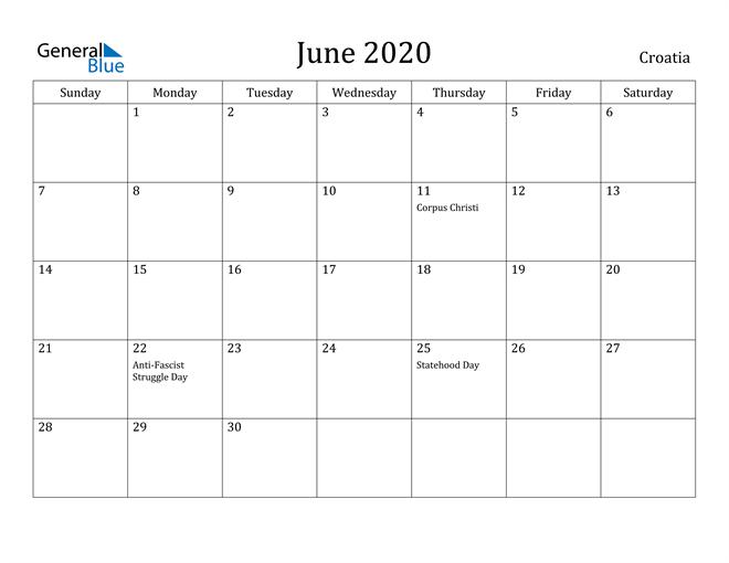 Image of June 2020 Croatia Calendar with Holidays Calendar