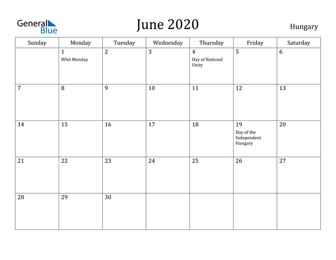 Image of June 2020 Hungary Calendar with Holidays Calendar