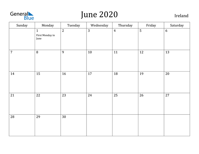 Image of June 2020 Ireland Calendar with Holidays Calendar