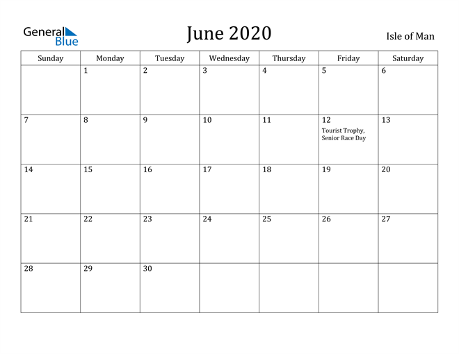 Image of June 2020 Isle of Man Calendar with Holidays Calendar