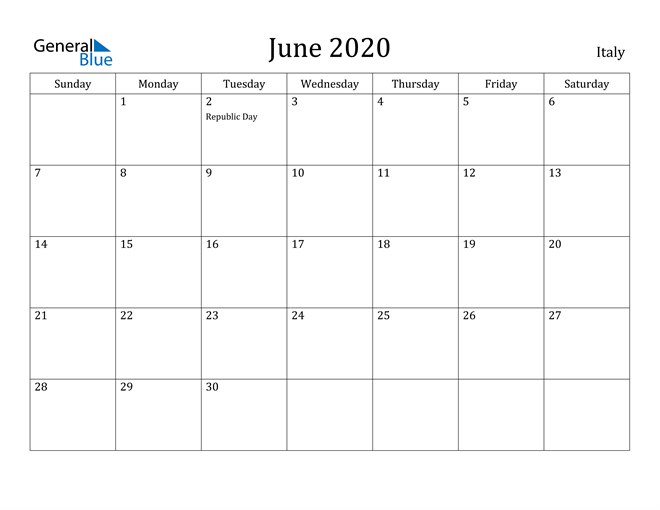 Image of June 2020 Italy Calendar with Holidays Calendar