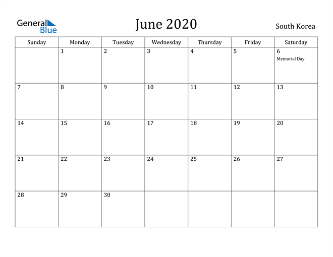 Image of June 2020 South Korea Calendar with Holidays Calendar