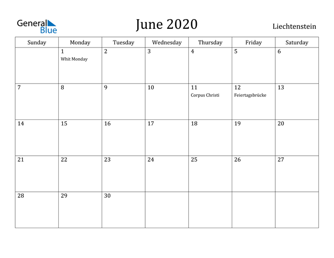 Image of June 2020 Liechtenstein Calendar with Holidays Calendar
