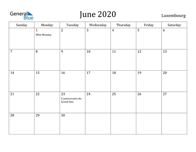 Image of June 2020 Luxembourg Calendar with Holidays Calendar
