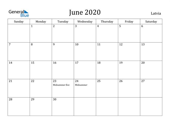 Image of June 2020 Latvia Calendar with Holidays Calendar