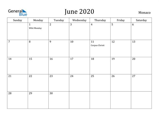 Image of June 2020 Monaco Calendar with Holidays Calendar