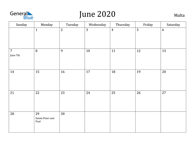 Image of June 2020 Malta Calendar with Holidays Calendar