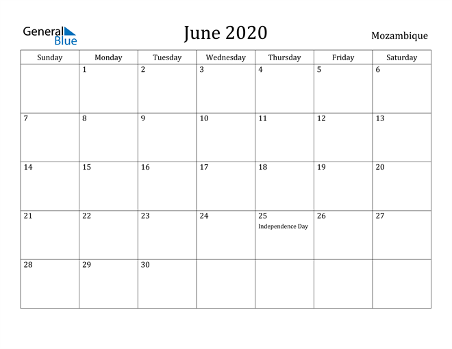 Image of June 2020 Mozambique Calendar with Holidays Calendar