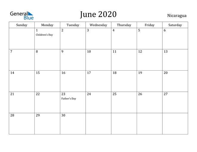 Image of June 2020 Nicaragua Calendar with Holidays Calendar