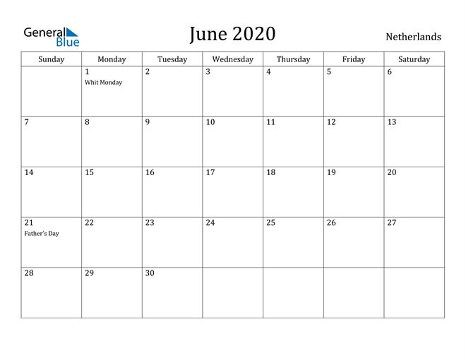 Image of June 2020 Netherlands Calendar with Holidays Calendar