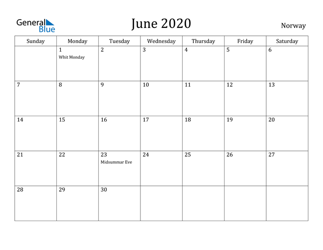 Image of June 2020 Norway Calendar with Holidays Calendar