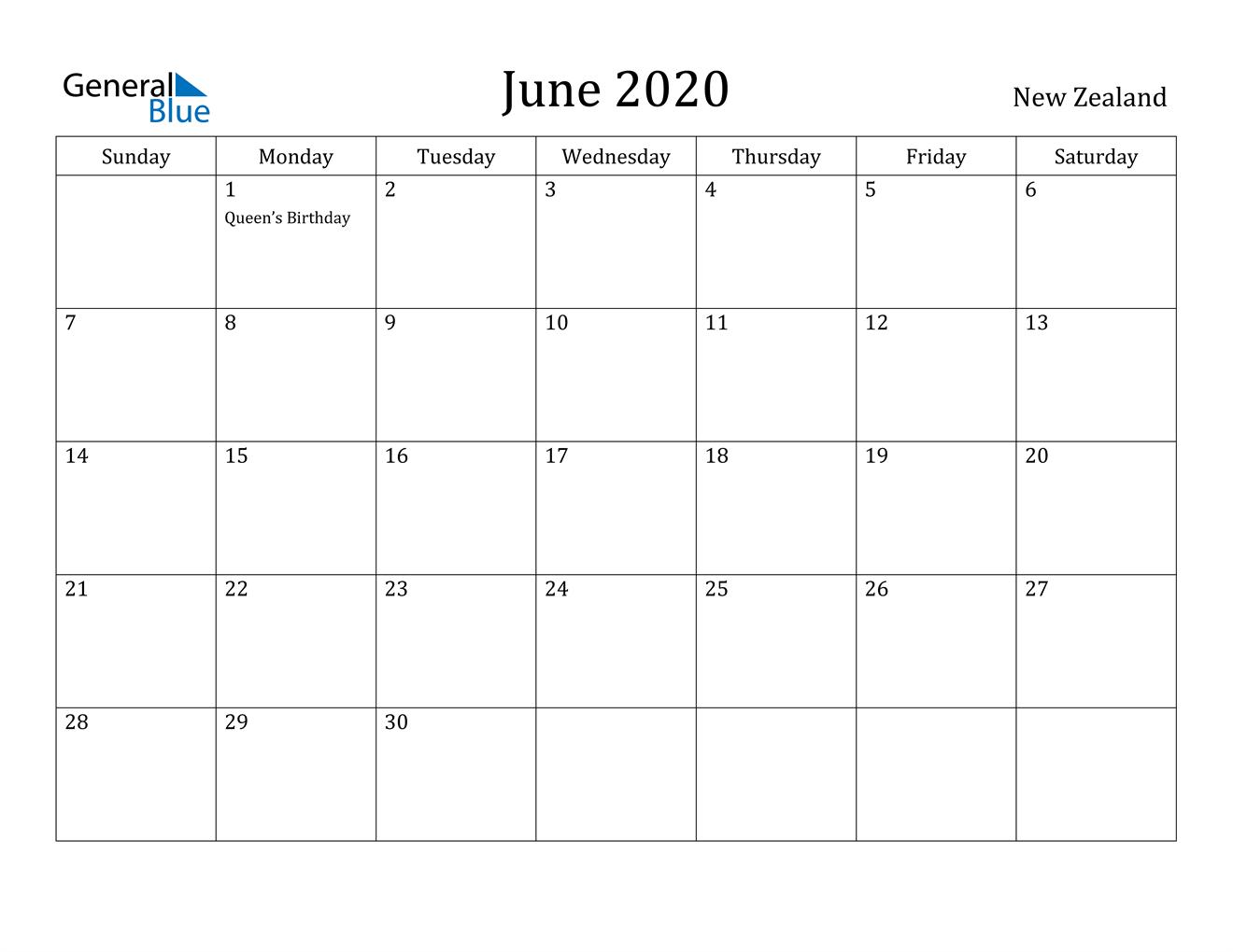 June 2020 Calendar - New Zealand