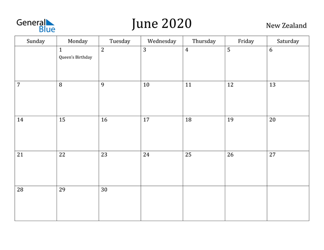 Image of June 2020 New Zealand Calendar with Holidays Calendar