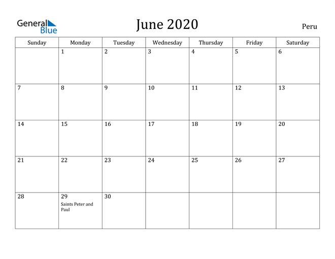 Image of June 2020 Peru Calendar with Holidays Calendar