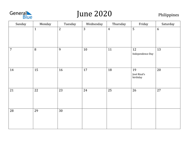 Image of June 2020 Philippines Calendar with Holidays Calendar