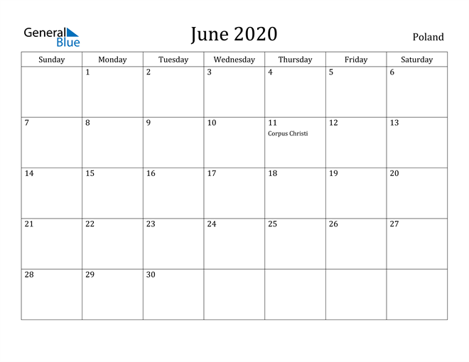 Image of June 2020 Poland Calendar with Holidays Calendar