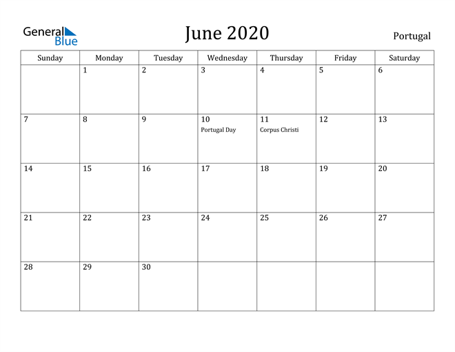 Image of June 2020 Portugal Calendar with Holidays Calendar