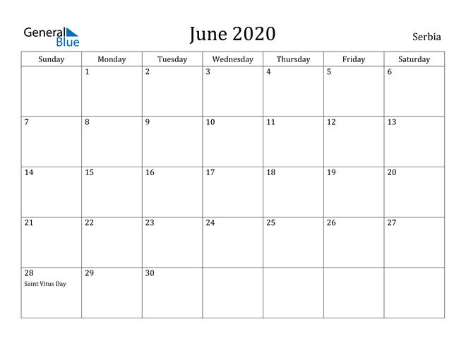 Image of June 2020 Serbia Calendar with Holidays Calendar