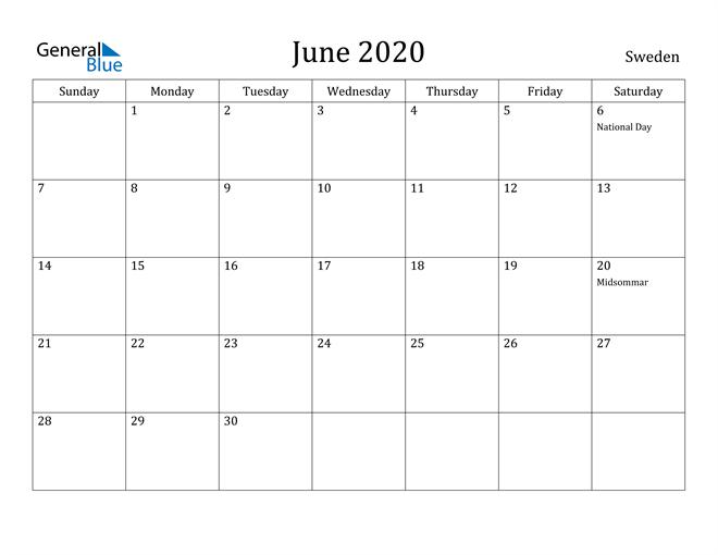 Image of June 2020 Sweden Calendar with Holidays Calendar