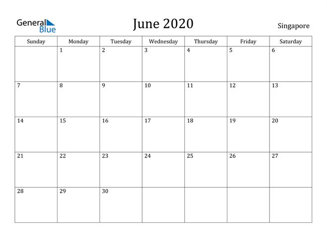 Image of June 2020 Singapore Calendar with Holidays Calendar