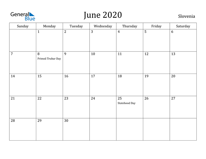 Image of June 2020 Slovenia Calendar with Holidays Calendar