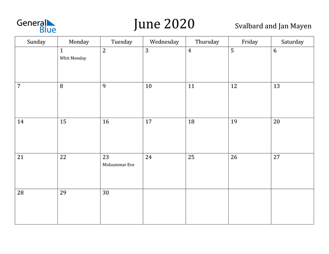 Image of June 2020 Svalbard and Jan Mayen Calendar with Holidays Calendar