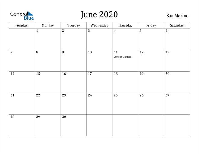 Image of June 2020 San Marino Calendar with Holidays Calendar