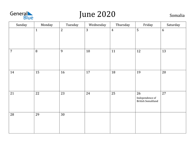 Image of June 2020 Somalia Calendar with Holidays Calendar