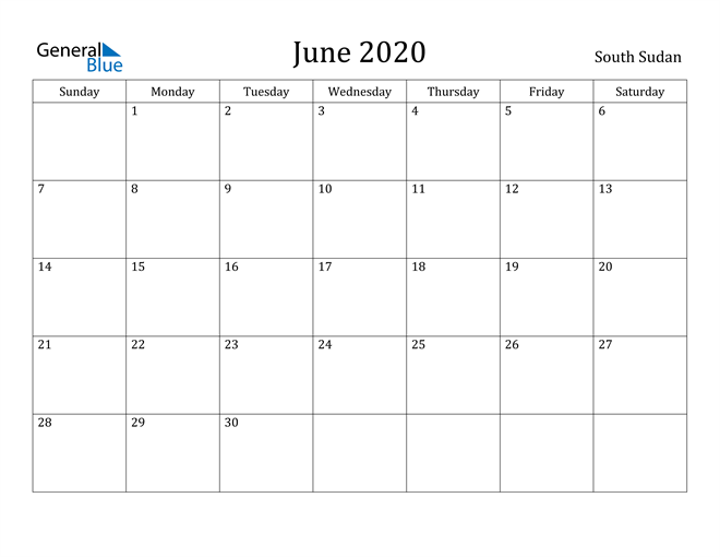 Image of June 2020 South Sudan Calendar with Holidays Calendar