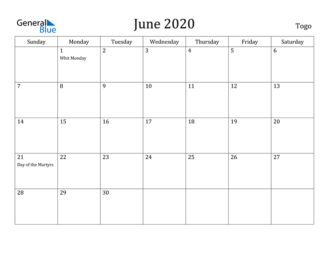 Image of June 2020 Togo Calendar with Holidays Calendar