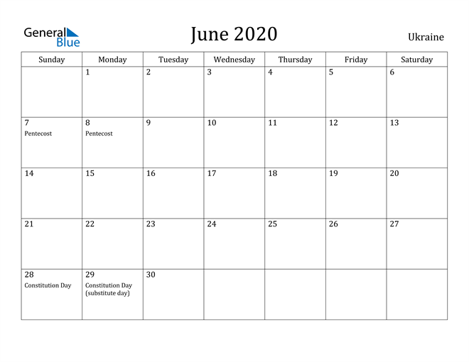 Image of June 2020 Ukraine Calendar with Holidays Calendar